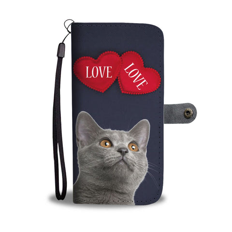Cute Chartreux Cat With Love Print Wallet Case-Free Shipping