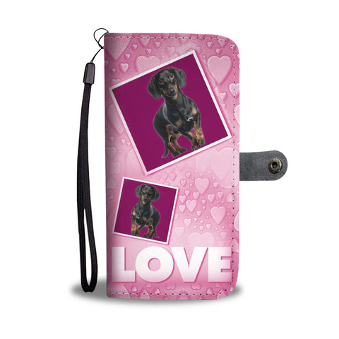 Dachshund Dog with Love Print Wallet Case-Free Shipping