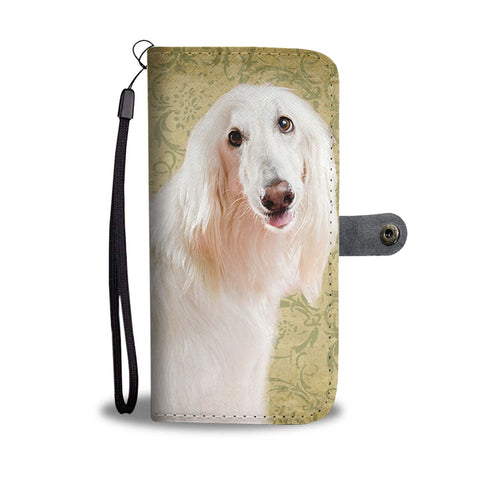 White Afghan Hound Wallet Case- Free Shipping
