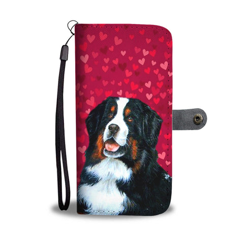 Bernese Mountain Dog On Red Print Wallet Case-Free Shipping
