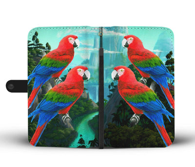 Amazing Red and Green Macaw Parrot Print Wallet Case-Free Shipping - Home Resources USA