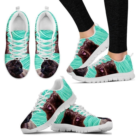York Chocolate Cat (Black/White) Cat Running Shoes For Women-Free Shipping-Paww-Printz-Merchandise