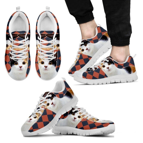Japanese Bobtail Cat Print (White/Black) Running Shoes For Men-Free Shipping-Paww-Printz-Merchandise