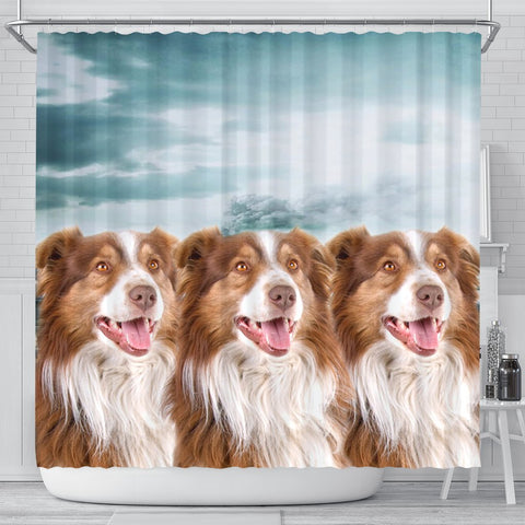 Cute Australian Shepherd Print Shower Curtains-Free Shipping