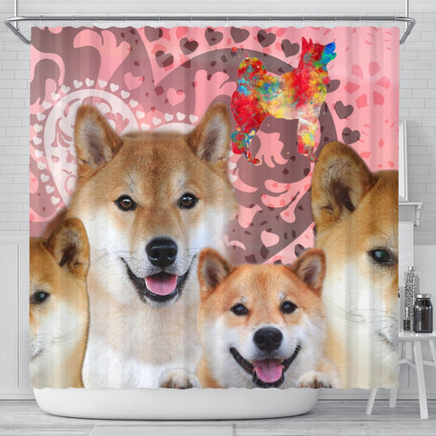 Shiba Inu Print Shower Curtains-Free Shipping