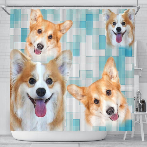 Pembroke Welsh Corgi Print Shower Curtains-Free Shipping