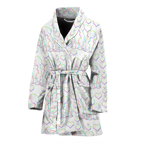 Sketch Bernese Mountain Dog Print Women's Bath Robe-Free Shipping