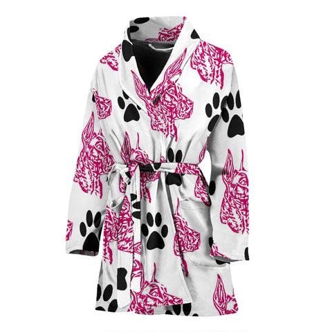 Amazing Great Dane Pink Print Women's Bath Robe-Free Shipping
