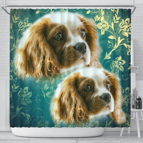 Cavalier King Charles Spaniel On Blue Print Shower Curtains-Free Shipping