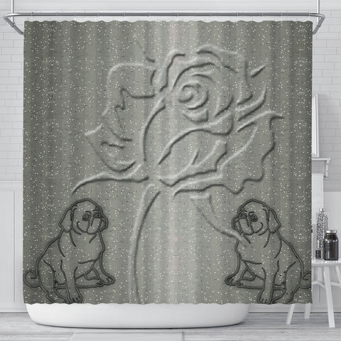 Pug With Rose Print Shower Curtain-Free Shipping
