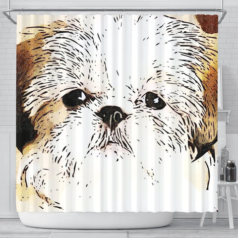 Cute Shih Tzu Dog Art Print Shower Curtain-Free Shipping