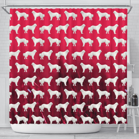 Great Pyrenees Dog On Red Print Shower Curtains-Free Shipping