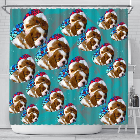 Cavalier King Charles Spaniel Dog On Heart Print Shower Curtains-Free Shipping