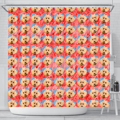 Poodle Dog On Hearts Print Shower Curtain-Free Shipping