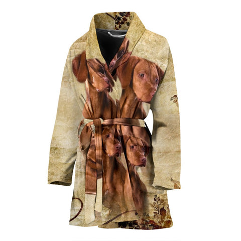 Cute Vizsla Print Women's Bath Robe-Free Shipping