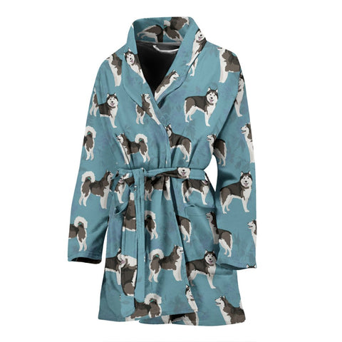 Lovely Alaskan Malamute Dog Pattern Print Women's Bath Robe-Free Shipping