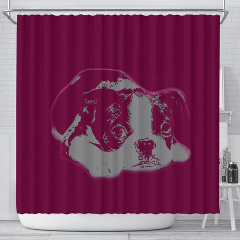 Cute Boston Terrier Print Shower Curtain-Free Shipping