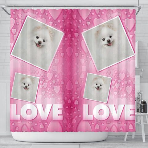 Pomeranian Dog Love Print Shower Curtain-Free Shipping