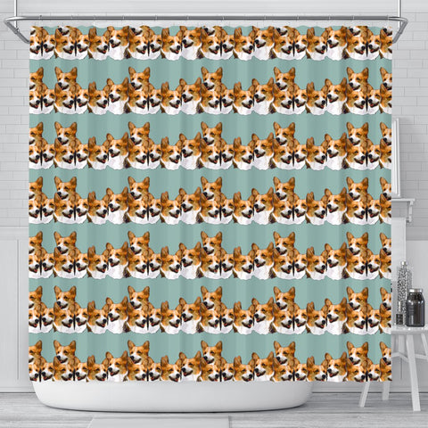 Cardigan Welsh Corgi Dog In Lots Print Shower Curtains-Free Shipping