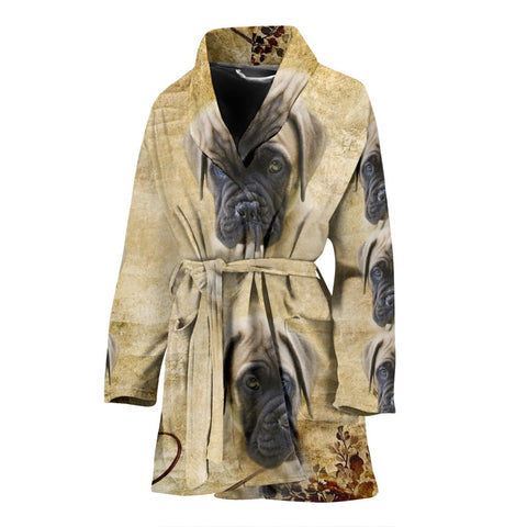 English Mastiff Puppy Print Women's Bath Robe-Free Shipping
