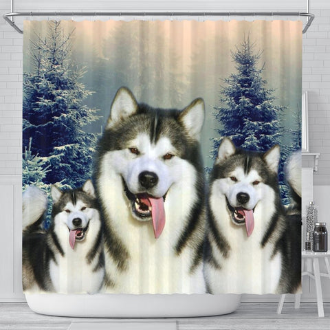Alaskan Malamute Print Shower Curtain-Free Shipping