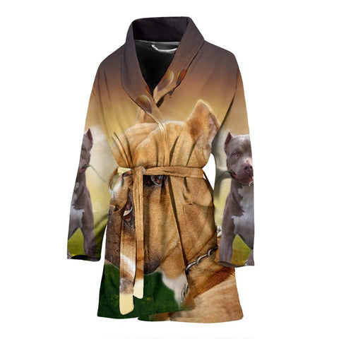 American Staffordshire Terrier Print Women's Bath Robe-Free Shipping