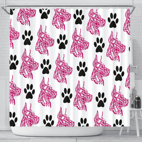 Amazing Great Dane With Paws Print Shower Curtain-Free Shipping