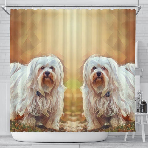 Havanese Dog Painting Art Print Shower Curtains-Free Shipping