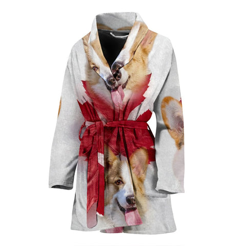 Pembroke Welsh Corgi On White Print Women's Bath Robe-Free Shipping