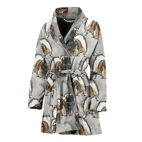 Tibetan Spaniel Dog Print Women's Bath Robe-Free Shipping