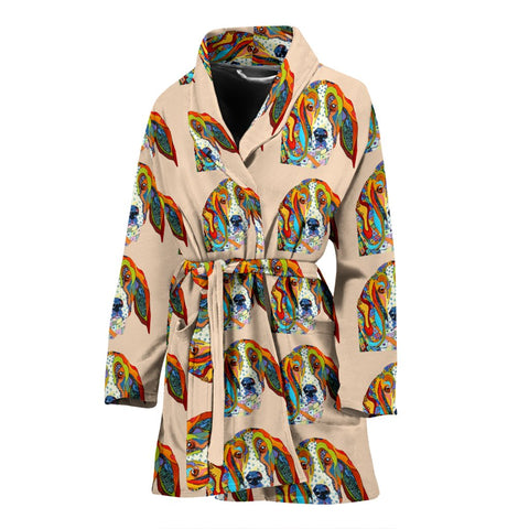 Basset Hound Dog Color Pattern Print Women's Bath Robe-Free Shipping