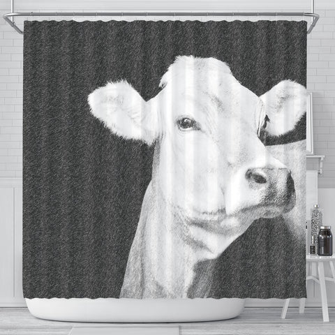 Brown Swiss cattle (Cow) Print Shower Curtain-Free Shipping