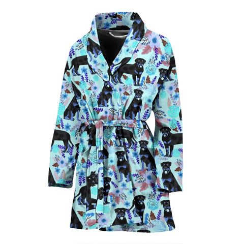 Rottweiler Dog Blue Floral Print Women's Bath Robe-Free Shipping
