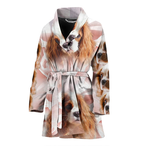 Cute Cavalier King Charles Spaniel Print Women's Bath Robe-Free Shipping