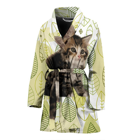 Siberian cat Print Women's Bath Robe-Free Shipping
