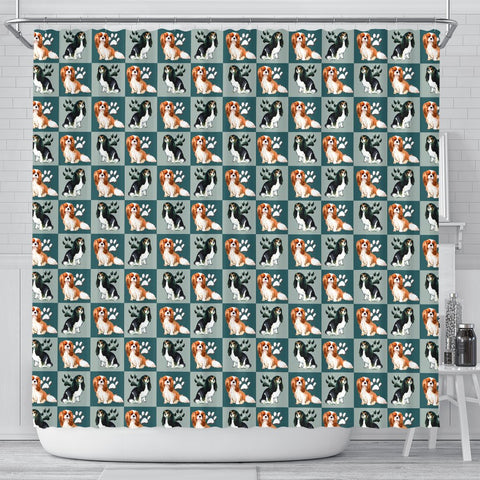 Cavalier King Charles Spaniel Dog With Paws Print Shower Curtains-Free Shipping