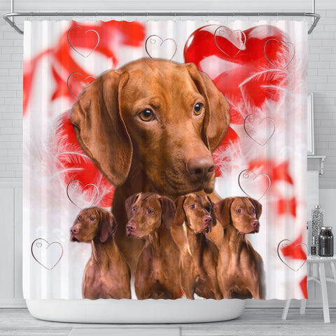 Cute Vizsla Print Shower Curtains-Free Shipping