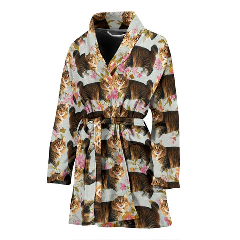American Bobtail Cat Pattern Print Women's Bath Robe-Free Shipping