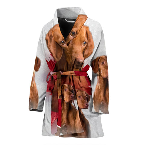 Vizsla On White Print Women's Bath Robe-Free Shipping