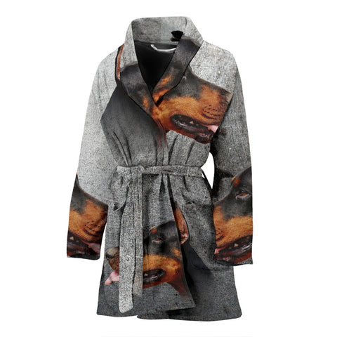 Doberman Pinscher Print Women's Bath Robe-Free Shipping