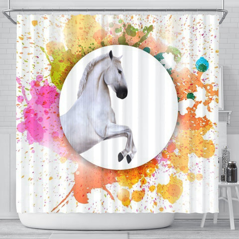 Lipizzan Horse Print Shower Curtain-Free Shipping