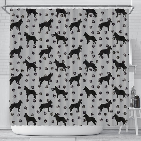 Malinois Dog Paws Pattern Print Shower Curtains-Free Shipping