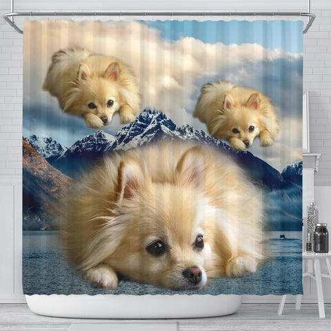 Pomeranian Dog Print Shower Curtains-Free Shipping