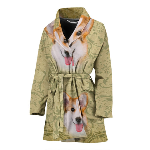 Cute Pembroke Welsh Corgi Print Women's Bath Robe-Free Shipping