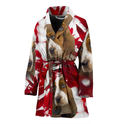 Basset Hound On Red Print Women's Bath Robe-Free Shipping