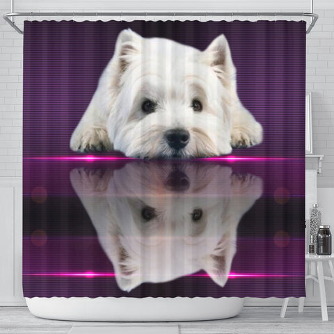 Cute West Highland White Terrier (Westie) Print Shower Curtain-Free Shipping