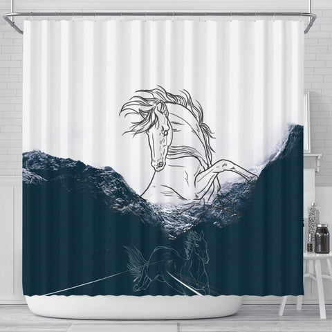 Dutch Warmblood Horse Print Shower Curtain-Free Shipping
