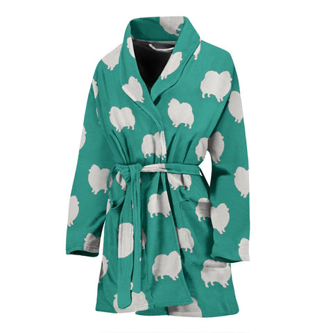 Pomeranian Dog Pattern Print Women's Bath Robe-Free Shipping