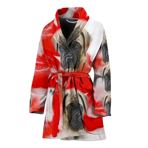 English Mastiff On Red Print Women's Bath Robe-Free Shipping