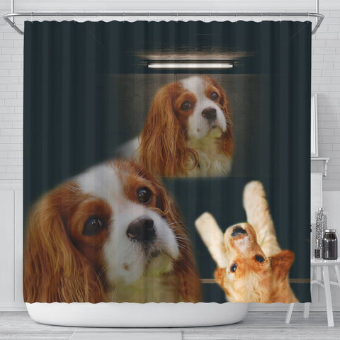 Cute Cavalier King Charles Spaniel Print Shower Curtain-Free Shipping